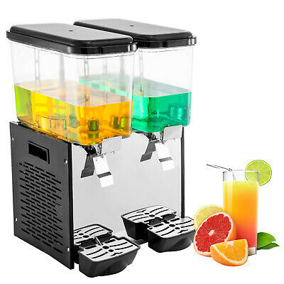 Commercial Juice Dispenser 18L*2 Double Tank Black PC Tea Coffee