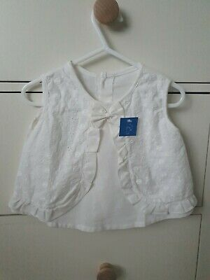 Baby Girls White Linen Top And Short Set 6-9m