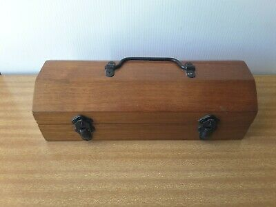 Wooden Case Box  Metal Latches Handle Hinged Lid
