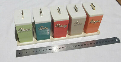 VINTAGE COLORED SPICE CANISTER SET 1970s RETRO KITCHENWARE CONTAINERS RACK CAPRI