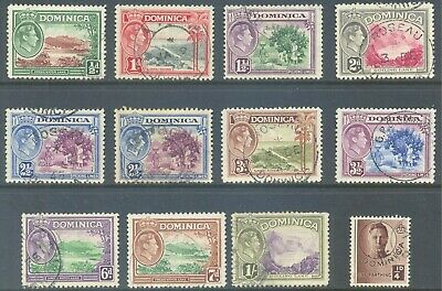 DOMINICA 1938/47 KG6 Pictorial Set to 1/- + ¼d value Good Used