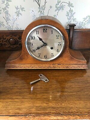 Antique Oak Case Napoleon Hat Mantle Clock