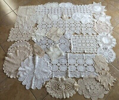 Collection of Hand Crocheted and Other Doilies, Tray Cloths