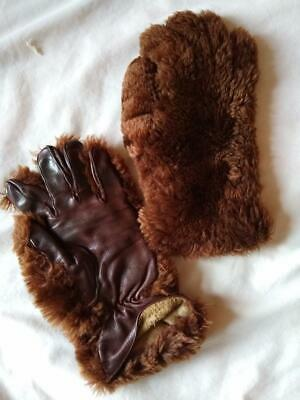 "Vintage  Beaver Lamb (""fur"") & Leather GAUNTLETS GLOVES  small/medium"