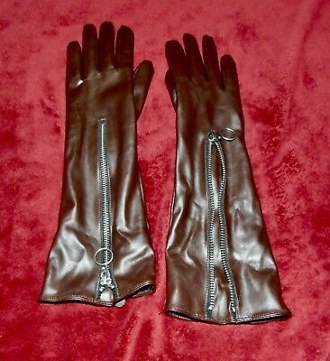 Ladies Medium Asos Chocolate Brown Faux Leather Long Gloves with Zip