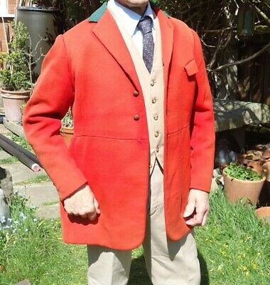 Vintage jacket, red hunting coat about 1960's hand made.button found.