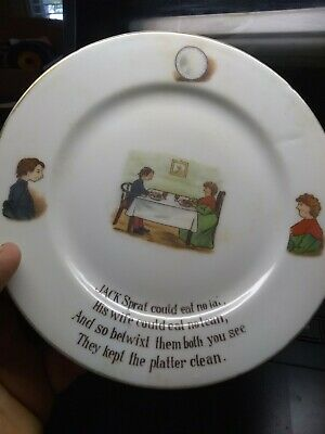 """Antique Jack Spray Bisque Hand Painted Saucer """"Fat/Lean"""" Free US Shipping!!!!"""
