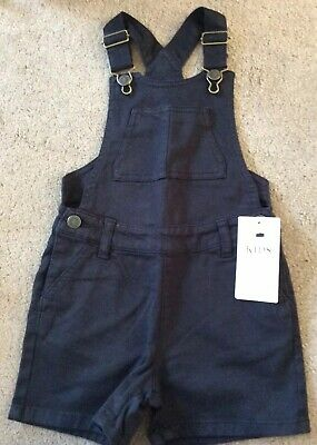 Marks And Spencers M&S Girls Age 4-5 Years Black Denim Dungarees Shorts