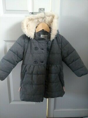 Marks and Spencer girls grey winter coat age 2-3 years water resistant