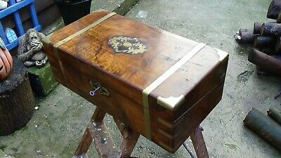 Antique Flame Walnut Campaign Writing Slope Secret Drawers Large With Key