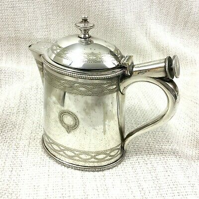 1881 Antique Silver Plated Small Hot Water Jug Elkington & Co Unusual Design