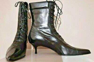 ITALIAN all leather BLACK STILETTO LACE-UP BOOTS sz 42 UK 8 1/2 Victorian goth