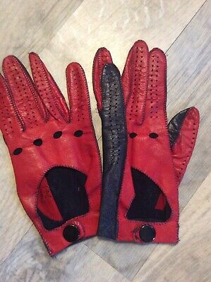 Vintage Soft Leather Small Ladies Red & Black Leather Driving Gloves Collectable
