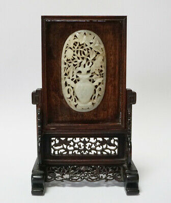 18/19th C. ANTIQUE CHINESE CARVED JADE PLAQUE STANDQING DYNASTY