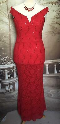 Quiz/Debut Dress/Ballgown Size 16 Bardot Sequin Stretch Lace Long Red Fishtail