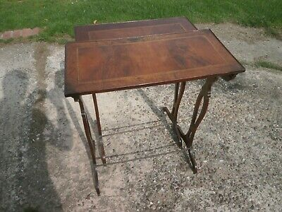 Pair of antique yew/mahogany side tables