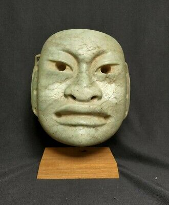 Pre-Columbian Olmec jade mask from Mexico. Ca. 400bc