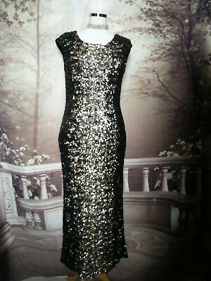 Phase Eight Dress/Ballgown Size 12 Collection 8 Sequined Black/Gold Shortened