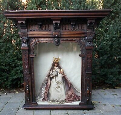 antique hand carved religious wooden altar Exposition Shrine Virgin Mary Jesus