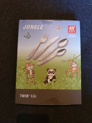 ZWILLING JUNGLE TWIN KIDS 4 tgl. KINDERBESTECK NEU verchromt