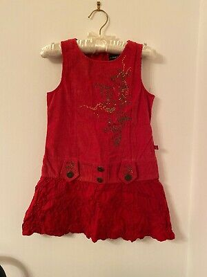 Jean Bourget Girls Designer Red Velvet Corduroy Christmas Dress Age 3 Yrs