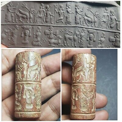 Neareastern amyzing carved old stone cylinderseal bead