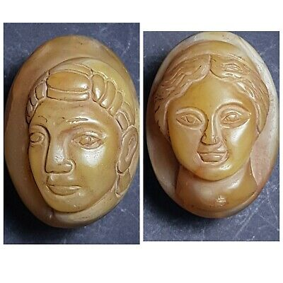 Very old roman king queen agate comeo bead