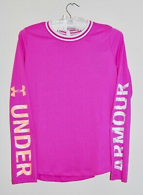 NWT Under Armour Big Girls Fuchsia Pink Mesh Back LS Pullover Top sz L XL