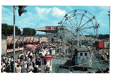 York Pennsylvania Postcard York Interstate Fair Midway Ferris Wheel Rides #75206