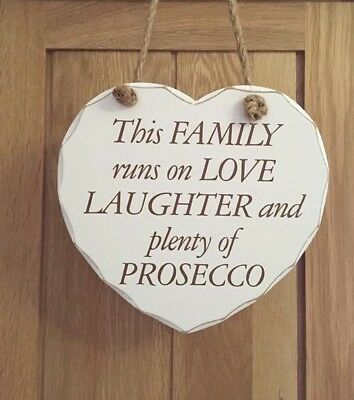 Large heart shaped Wooden shabby chic white Prosecco hanging Sign