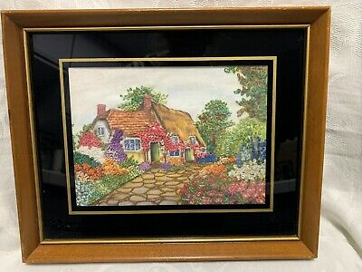 Pair Of Antique Art English Garden Cottage * Hand Painted Embroidered Framed