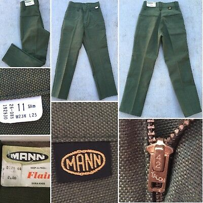 "Vintage Mann Pants 70s Kids 11 Slim Measure 22 1/2"" X 22 1/2"" Flair Green NOS"