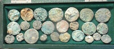 Lot of 25 Ancient Roman Coins with Centuries of Heavy Encrustation! Sestertius!