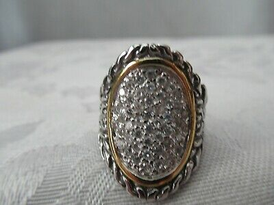 Sterling Silver Byzantine Diamonds with 18k Gold Accent Ring - New