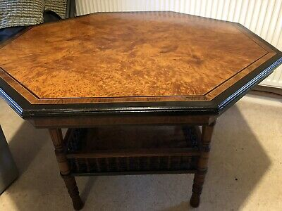 Victorian burr walnut and ebonised octagonal centre Table