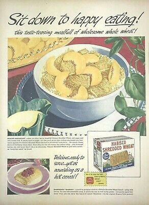 Nabisco Shredded Wheat Cereal Magazine Print Ad Vintage 1947 Breakfast Food