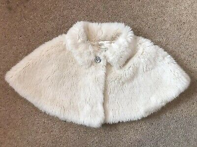 Monsoon girls faux fur shrug cream age 3-6 Years Super Cosy Party Christmas
