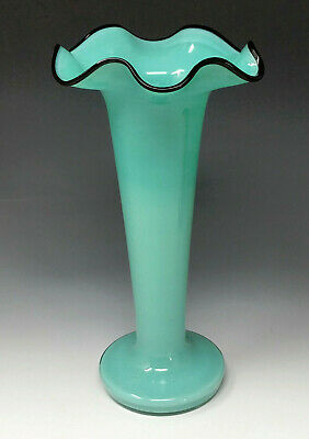 Vtg. Czech Glass Tango Vase AQUA BLUE BLACK LIP Czechoslovakia, kralik loetz era