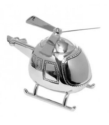 Silver Plated Helicopter Money Box Bambino Juliana Collection Baby Gift Boxed