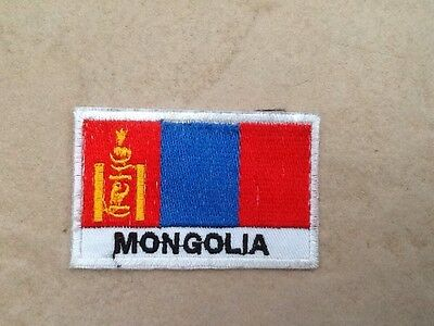Mongolia Mongolian Flag Patch Badge Iron Or Sew On 9cm x 6.5cm