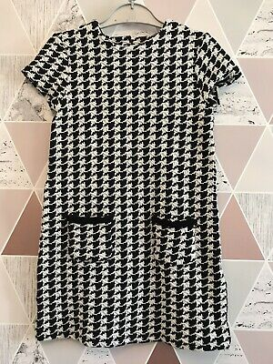 Girls Next Dogstooth Black & White Cotton Stretch Dress With Pockets Age 6 Years