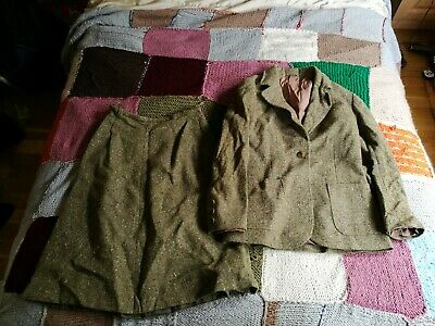 Vintage Womens Skirt Suit - Wool Two Piece Retro Jacket Top Tweed Land Girl