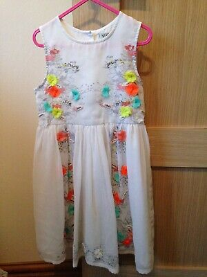 Next girls dress white with neon flowers age 4-5 years button up back