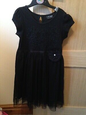 Next girls black dress with flower age 5-6 years