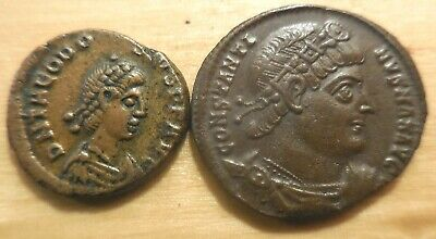 Lot of Two EF Ancient Roman Coins! THEODOSIUS I CHI-Rho, Constantine of Antioch!