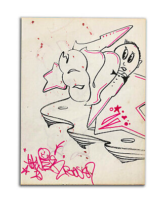 QUIK 'NYC Graffiti legend'  Drawing on paper 1980's  COA - Urban Art Drawing