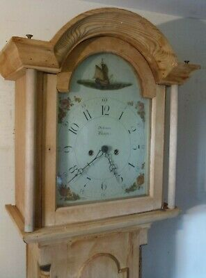 "Antique  "" Boston ""  Eight Day  Pine  Longcase / Grandfather Clock"