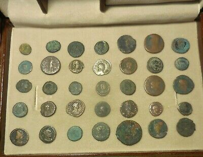 Lot of 35 Detailed Ancient Roman Coins, Silver Gallienus & Silvered Maximianus!