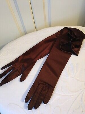 Long Satin Evening Gloves In Chocolate Brown