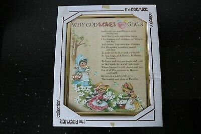 """Unused picture in frame """"Why God Loves Little Girls"""" in box"""
